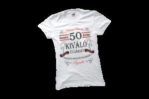 Vintage 50 éves prémium minőségű női fekete póló minta termék kép