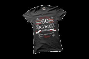 Vintage 60 éves prémium minőségű női fehér póló minta termék kép