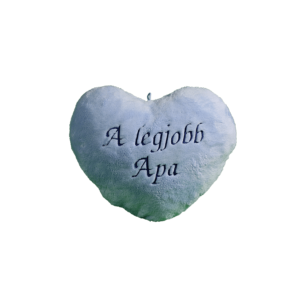A legjobb apa szív alakú kék plüss párna közepes termék kép