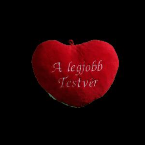 A legjobb testvér szív alakú piros plüss párna nagy termék kép