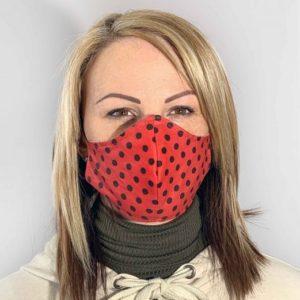 Fekete pöttyös - Piros színű szájmaszk termék kép
