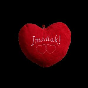 Imádlak szív alakú piros plüss párna közepes termék kép
