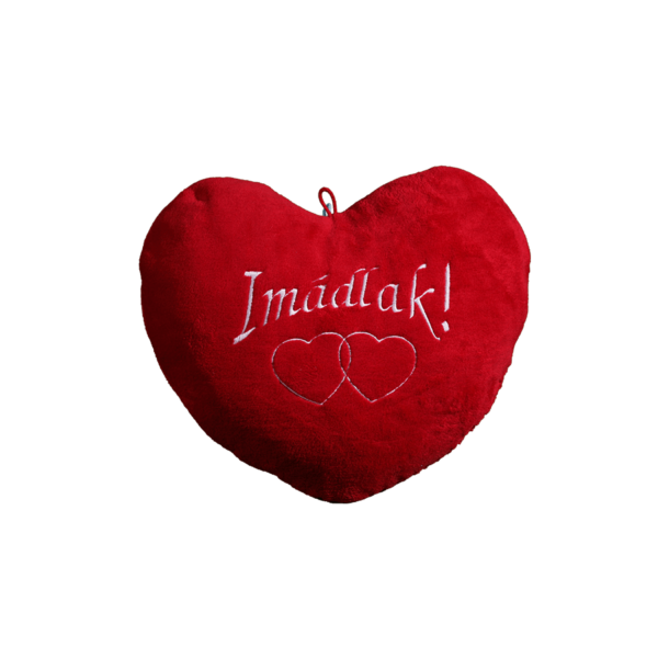 Imádlak szív alakú piros plüss párna nagy termék kép