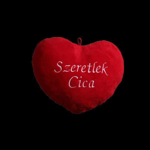 Szeretlek cica szív alakú piros plüss párna nagy termék kép