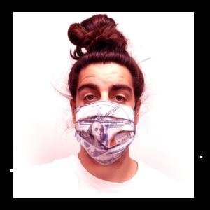 100 Dollár mintás pénzes szájmaszk termék kép