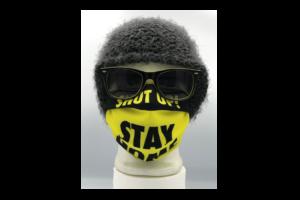 Shut up!Stay Home fekete sárga mintás szájmaszk termék kép