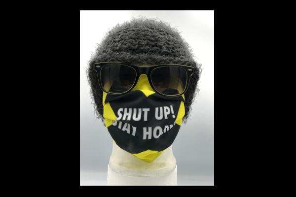 Shut up! Stay home sárga mintás szájmaszk termék kép