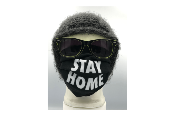Stay Home Fekete mintás szájmaszk termék kép