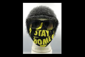Stay Home Sárga Fekete mintás szájmaszk termék kép