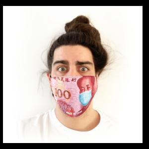 100 Yuan pénz mintás sima szájmaszk termék kép