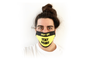 Shut Up Stay Home fehete sárga mintás sima szájmaszk termék kép