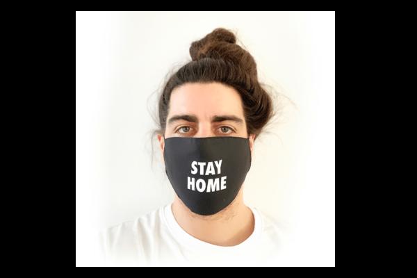 Stay Home fekete mintás sima szájmaszk termék kép
