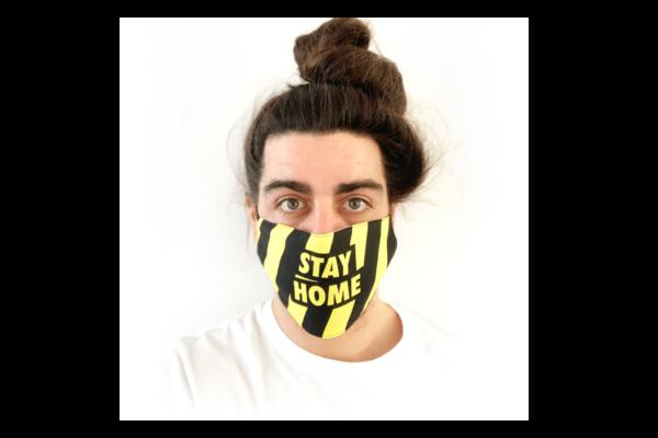 Stay Home fekete sárga csíkos mintás sima szájmaszk termék kép