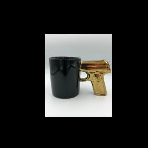 Különleges formájú Arany Pisztoly kerámia bögre termék kép