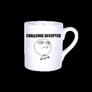 Challenge accepted vicces poénos mém bögre termék kép