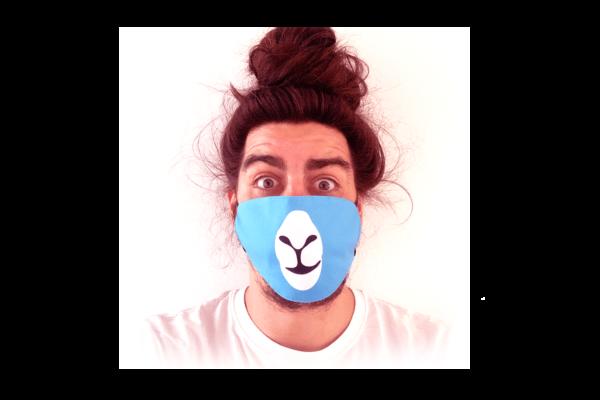 Láma-Kék mintás sima szájmaszk termék kép