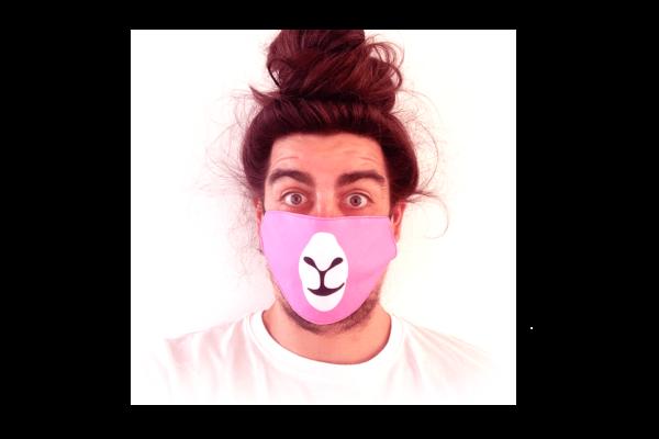 Láma-Pink mintás sima szájmaszk termék kép