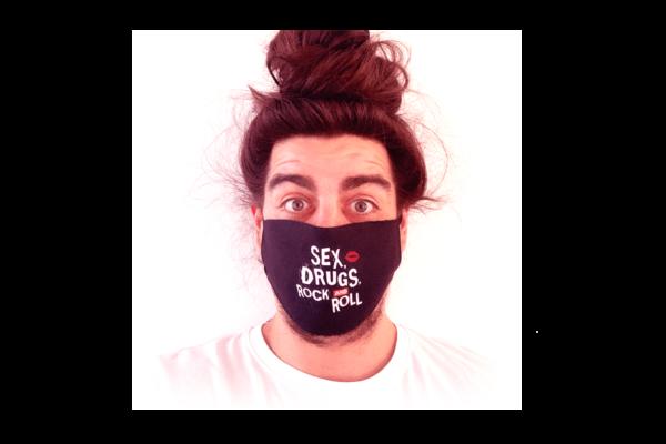 SEX,DRUGS AND ROCK'N'ROLL mintás sima szájmaszk termék kép
