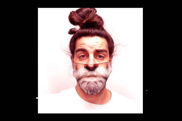 Ősz szakállas mintás sima szájmaszk termék kép
