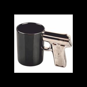Különleges formájú ezüst pisztoly kerámia bögre termék kép